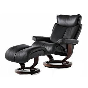 Magic Small Recliner/Ottoman: Paloma Black & Teak