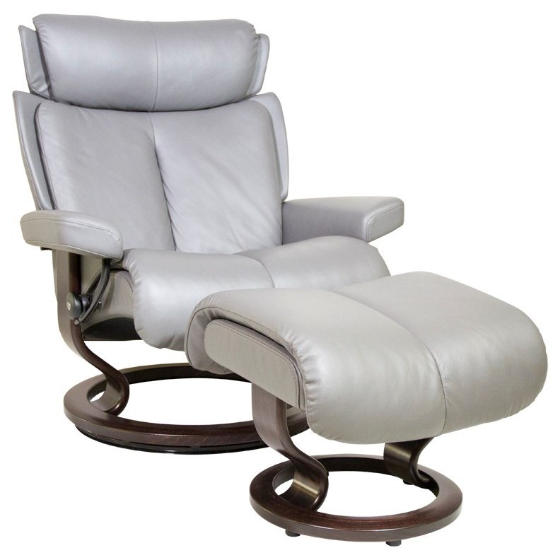 Magic Large Chair & Ottoman with Classic Base by Stressless at Fashion Furniture