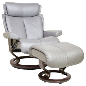 Large Reclining Chair & Ottoman with Classic Base