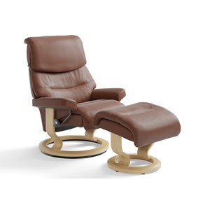 Medium Reclining Chair & Ottoman with Classic Base