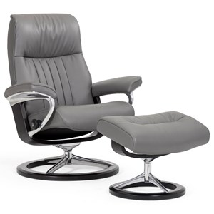 Small Reclining Chair & Ottoman with Signature Base