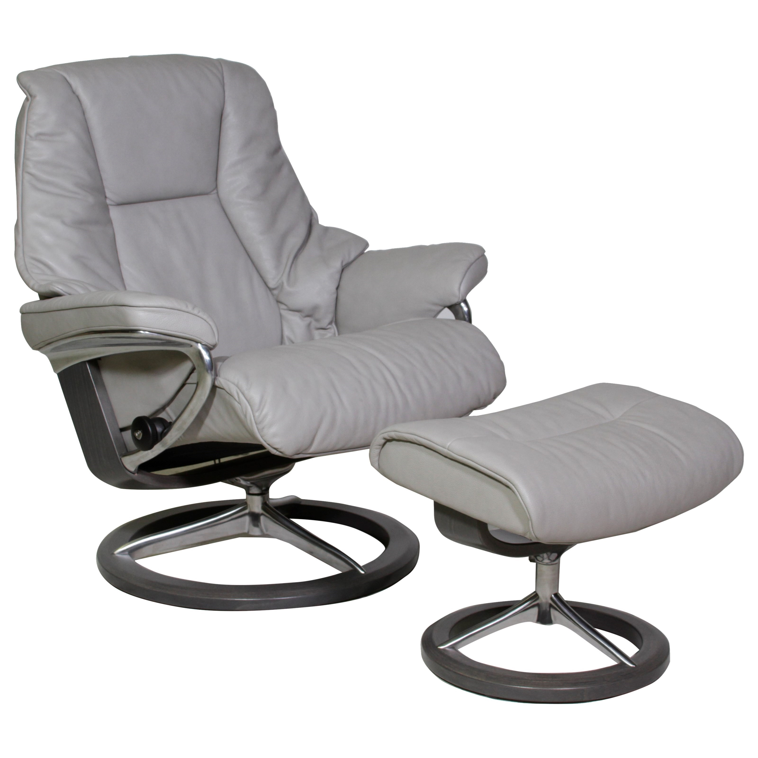 Live Large Chair & Ottoman with Signature Base by Stressless at Virginia Furniture Market