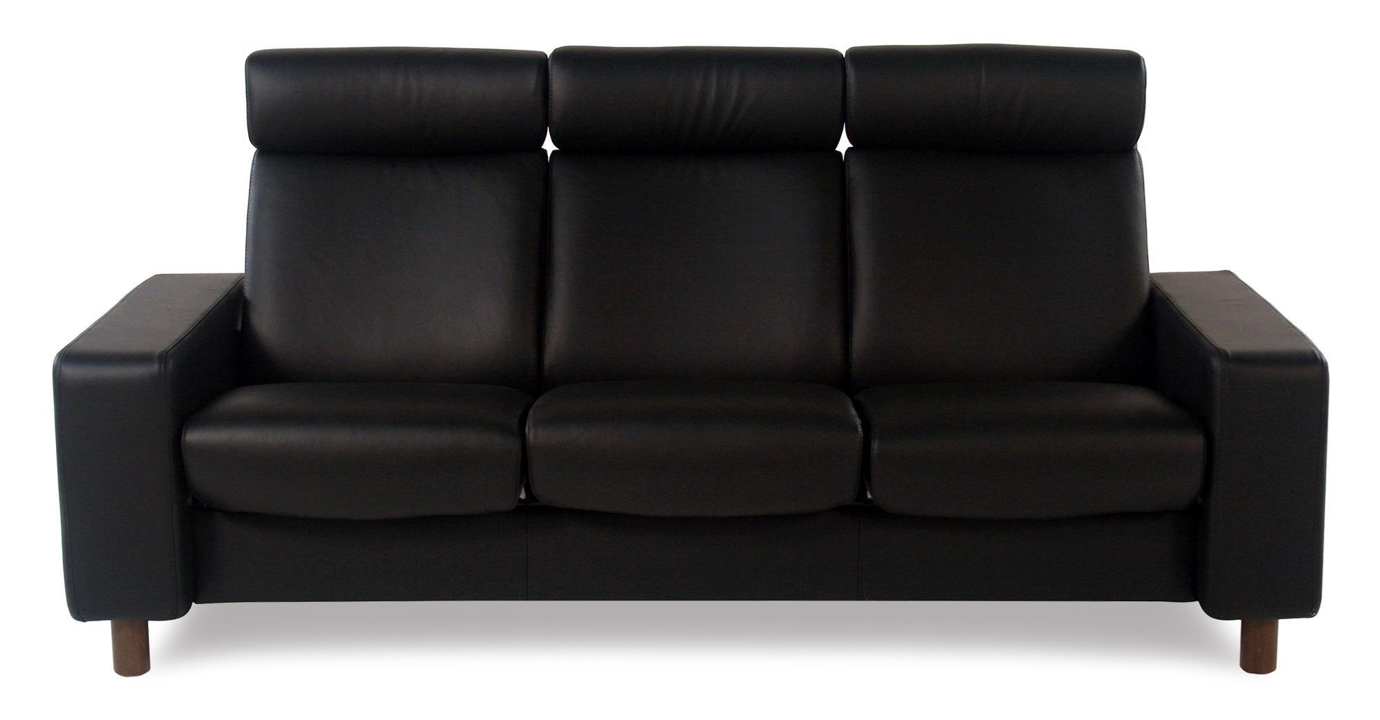 3-Seat High Back Sofa: Paloma Black w/ Walnut Finish