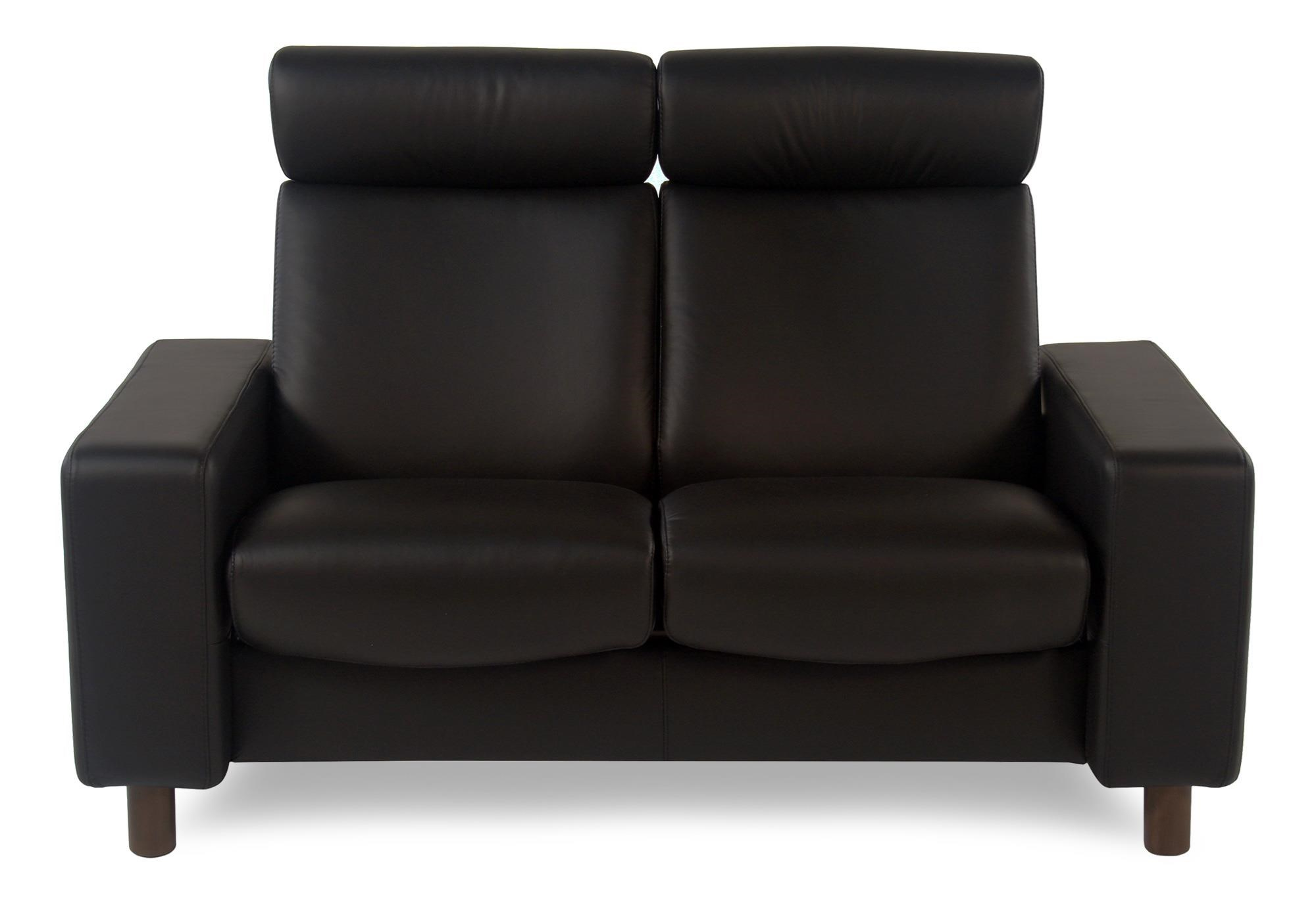 2-Seat High Back Loveseat: Paloma Black w/ Walnut Finish