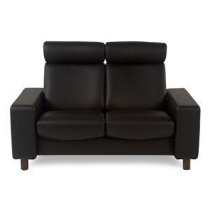 2-Seat High Back Loveseat: Paloma Black w/ Walnut Finish