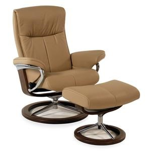 Medium Signature Reclining Chair/Ottoman: Paloma Beige