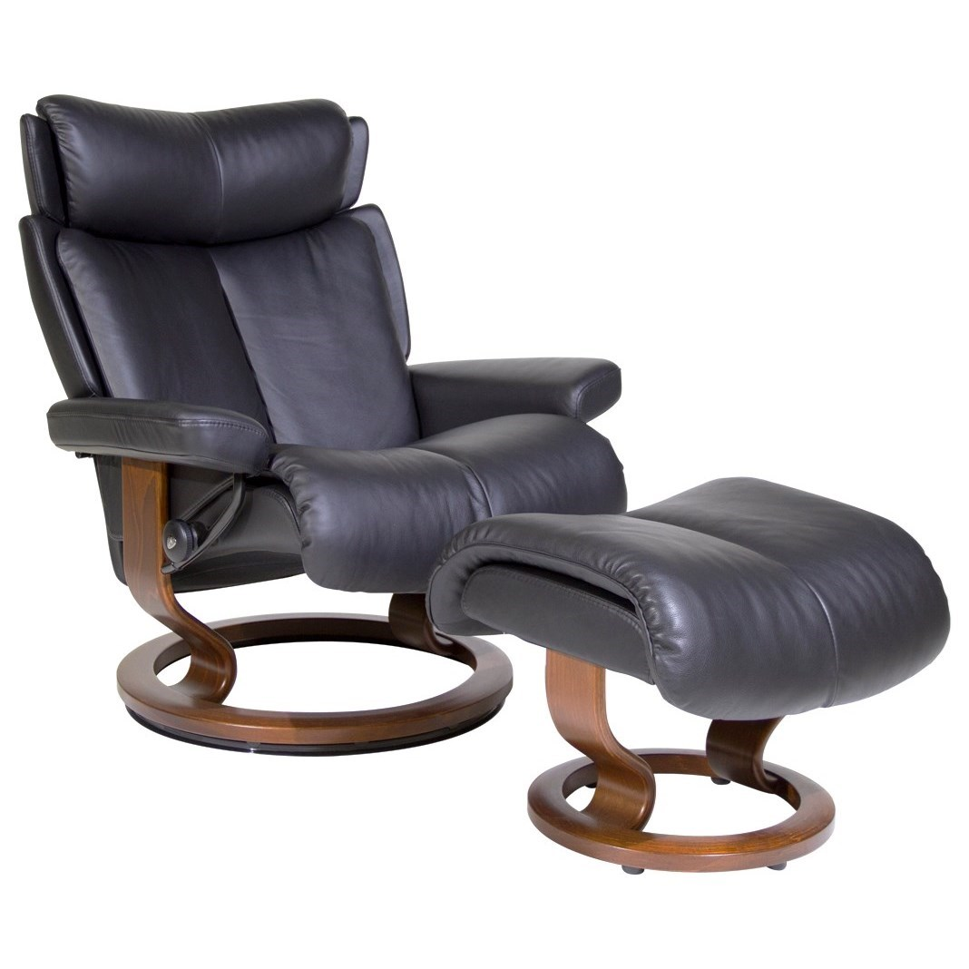 Magic Large Chair & Ottoman with Classic Base by Stressless at Jordan's Home Furnishings