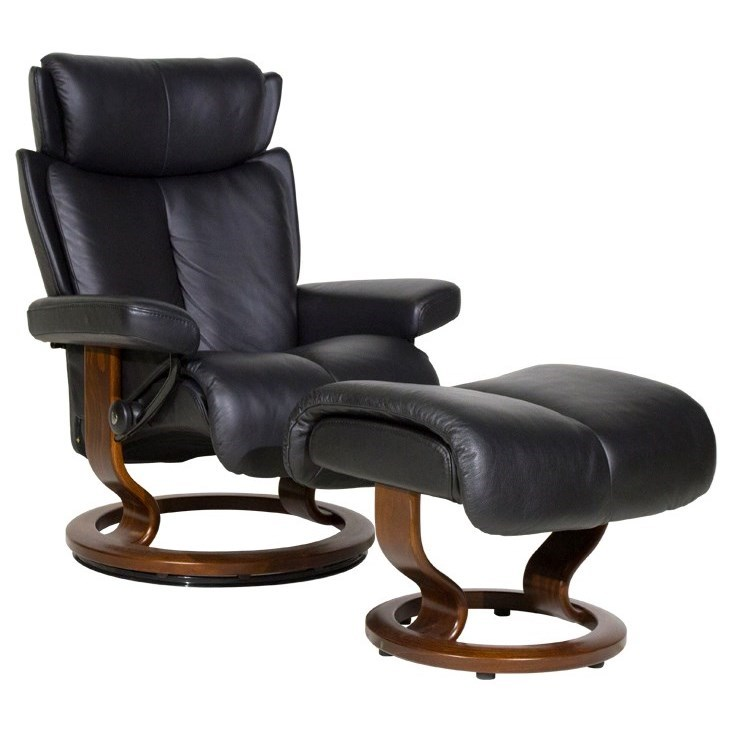 Magic Small Chair & Ottoman with Classic Base by Stressless at Jordan's Home Furnishings