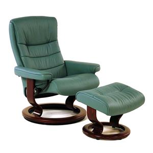 Nordic Medium Recliner/Ottoman: Paloma Aqua & Walnut