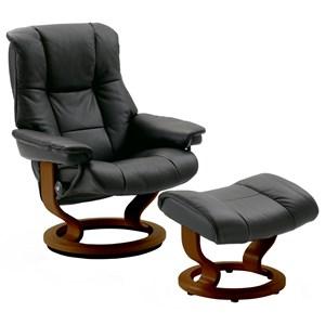 Medium Reclining Chair & Ottoman with Classic Base