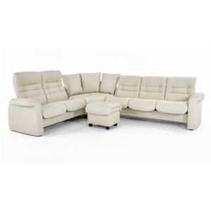 Four Piece Reclining Sectional Sofa with High and Low Back Seats