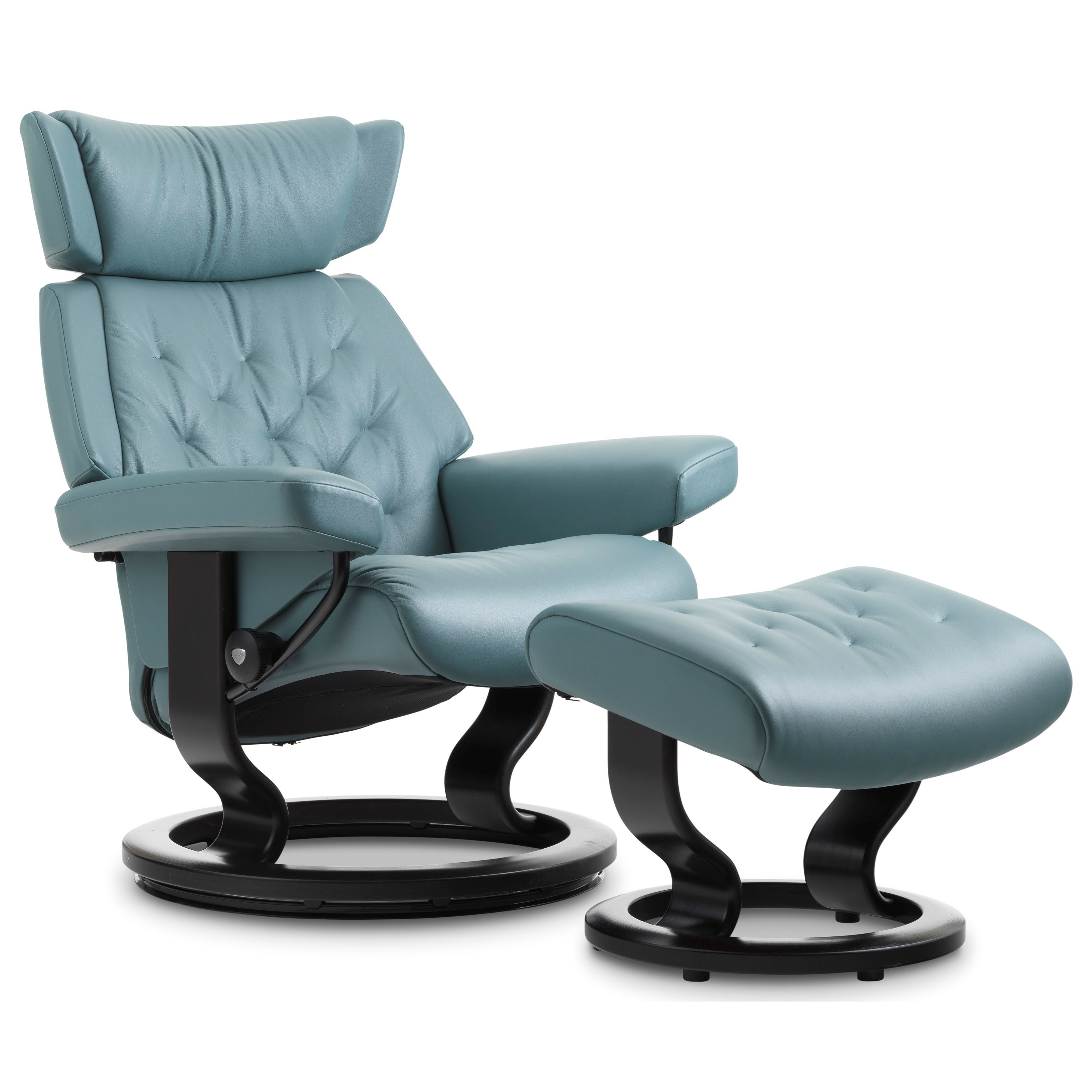 Skyline Medium Chair & Ottoman with Classic Base by Stressless at Jordan's Home Furnishings
