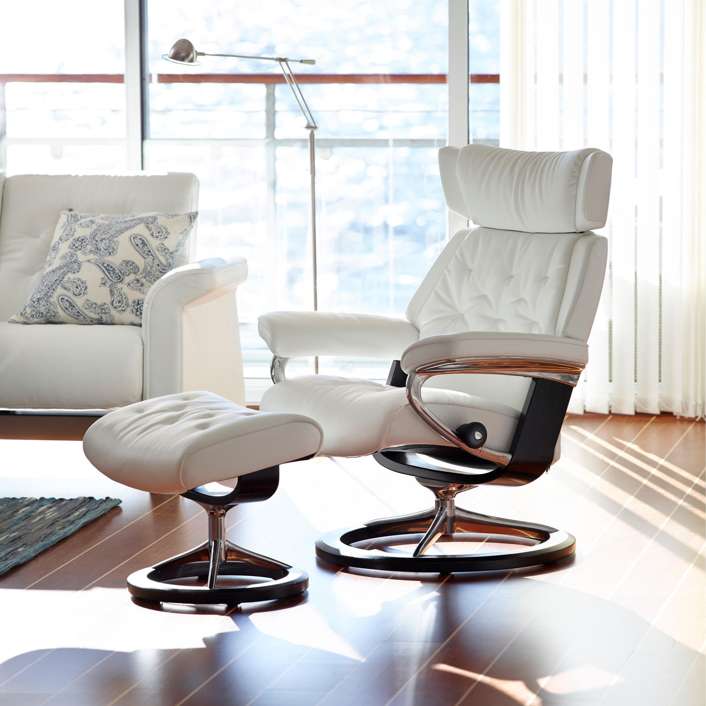 Skyline Large Chair & Ottoman with Signature Base by Stressless at Fashion Furniture