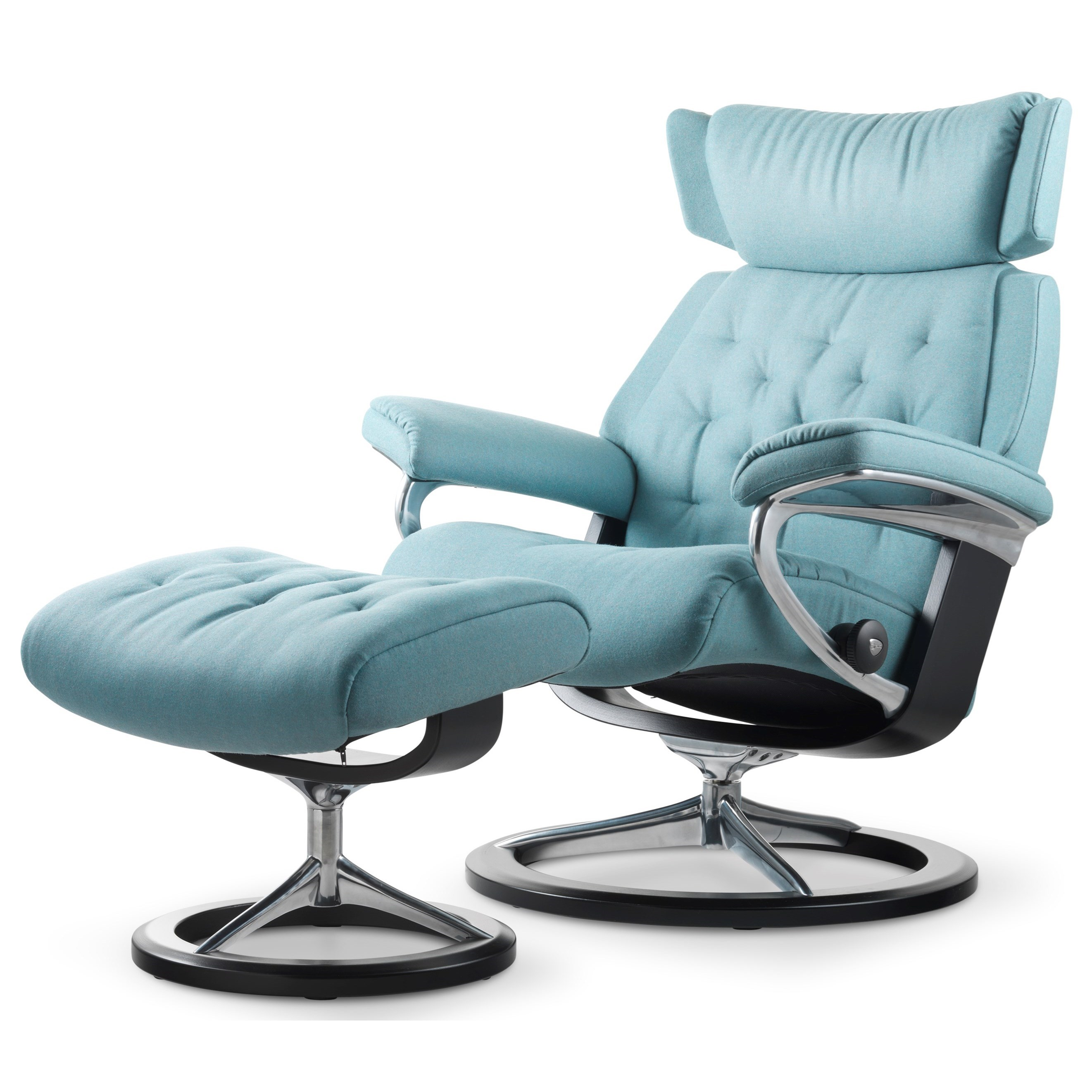 Skyline Medium Chair & Ottoman with Signature Base by Stressless at Virginia Furniture Market