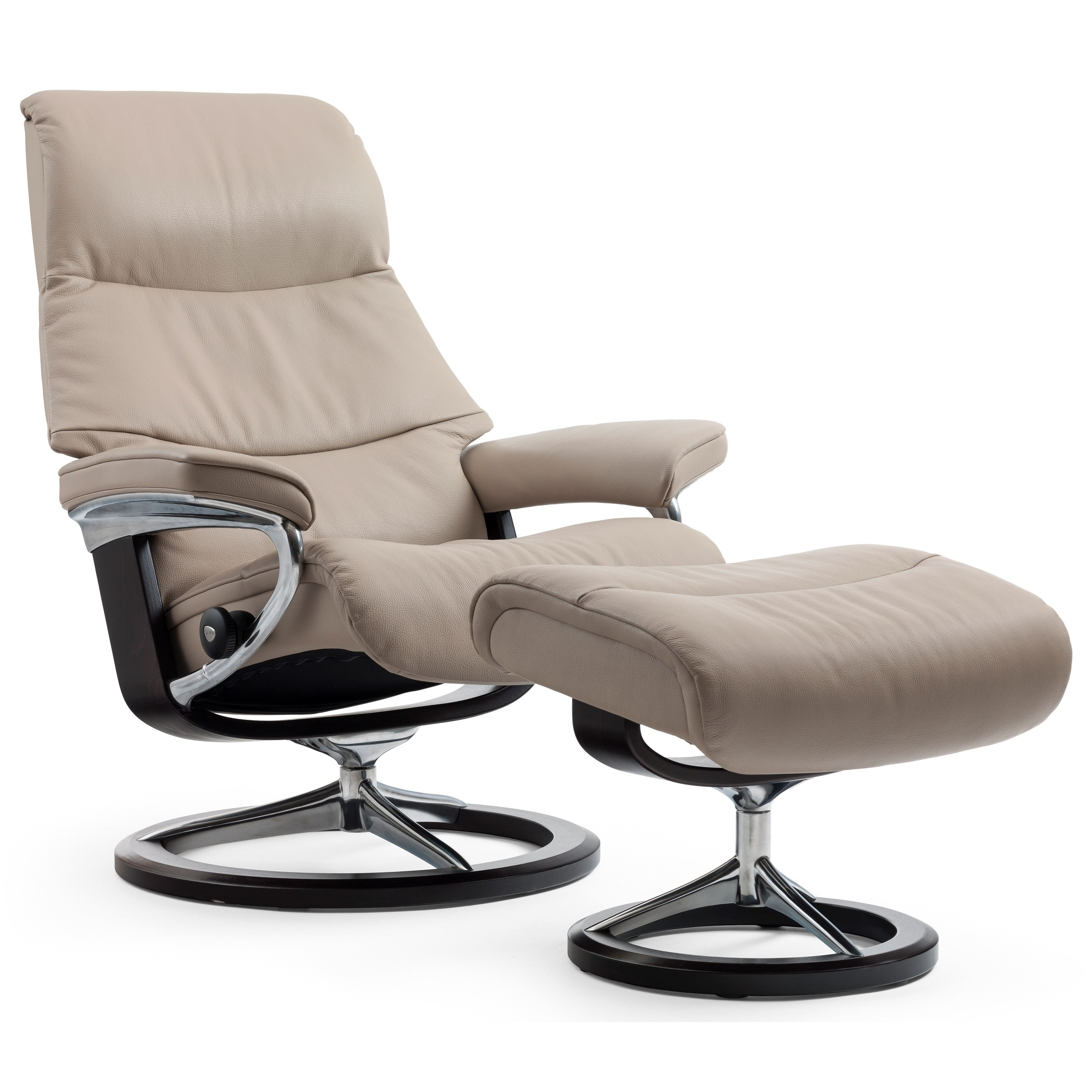View Medium Chair & Ottoman with Signature Base by Stressless at Jordan's Home Furnishings