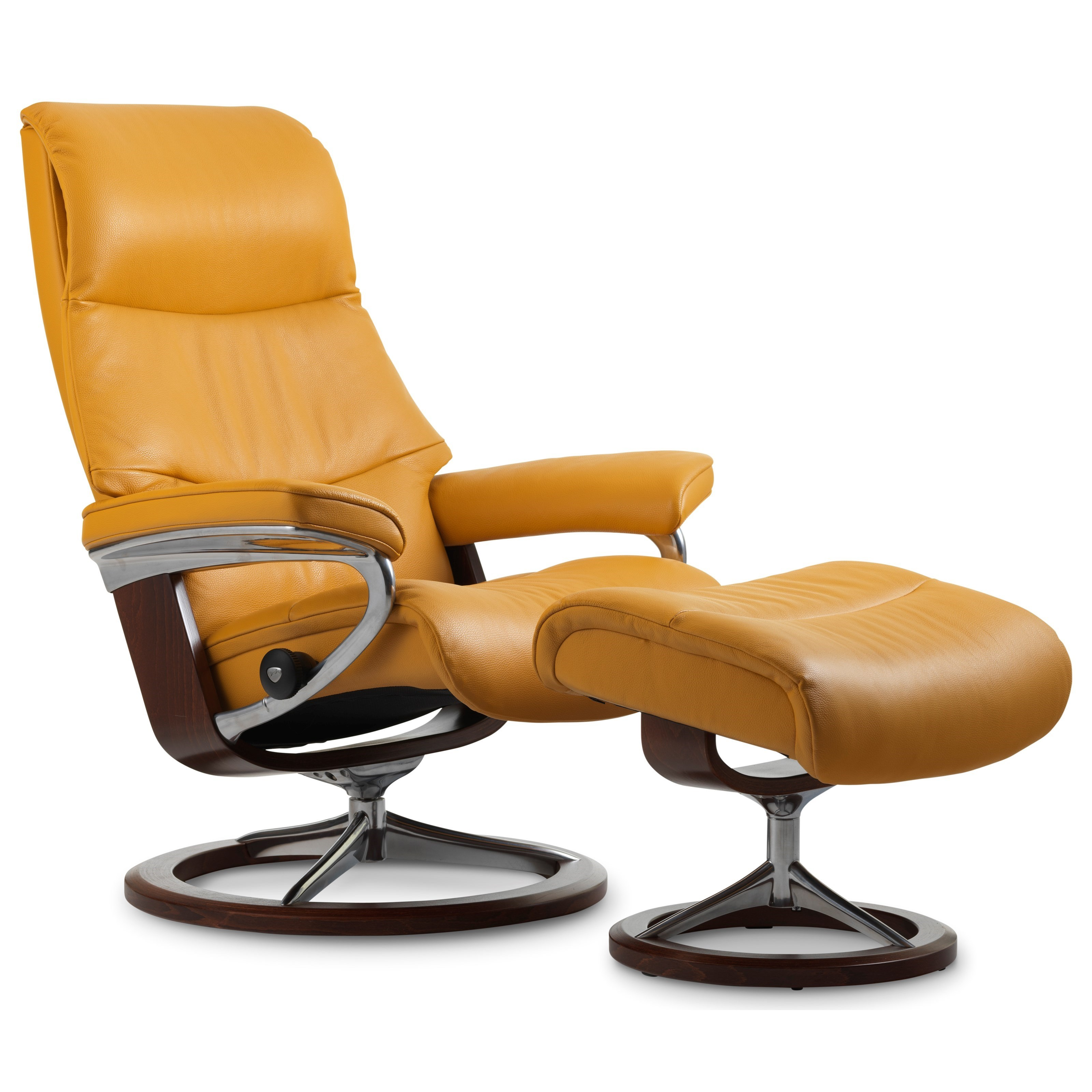 View Medium Chair & Ottoman with Signature Base by Stressless at Gill Brothers Furniture