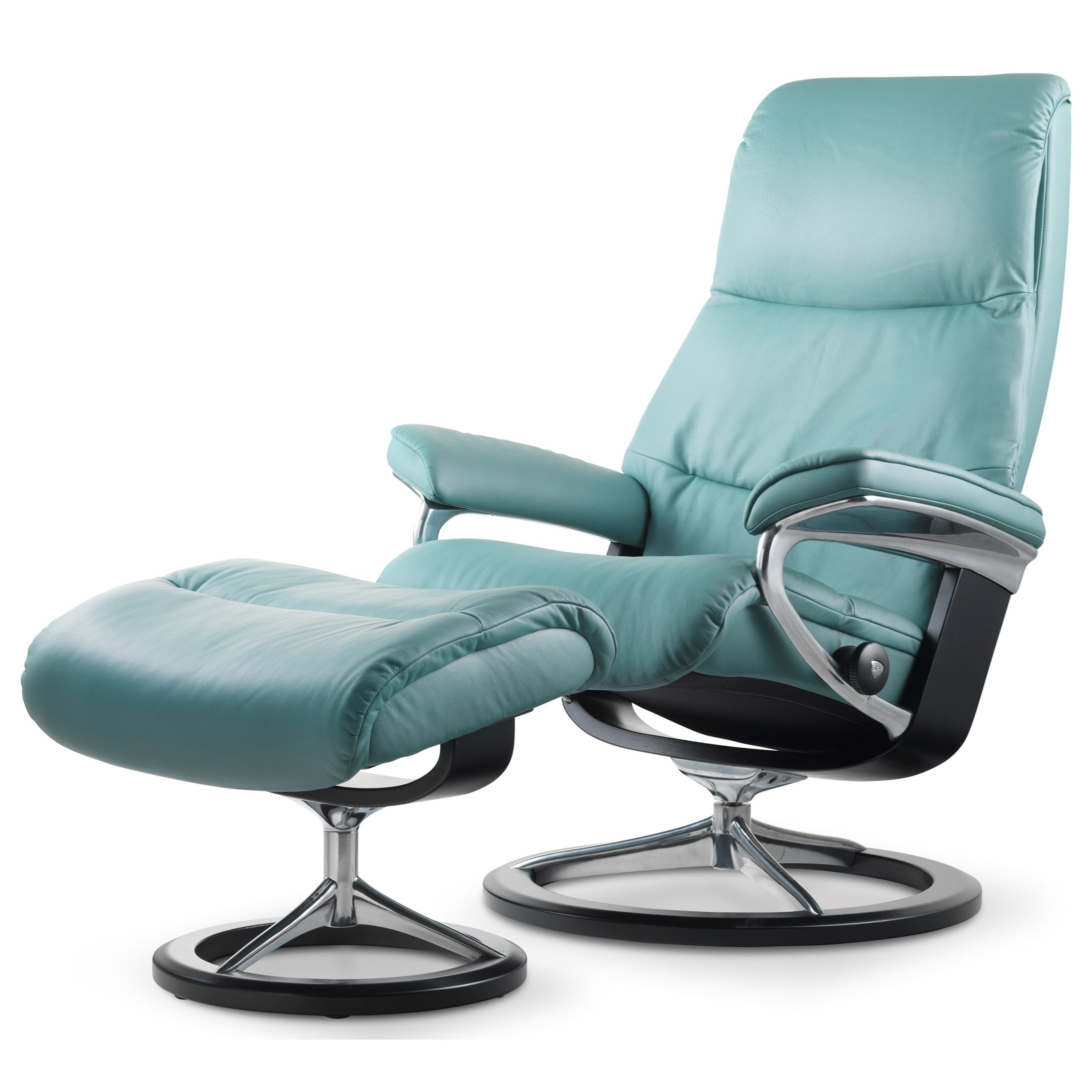 View Small Chair & Ottoman with Signature Base by Stressless at Virginia Furniture Market