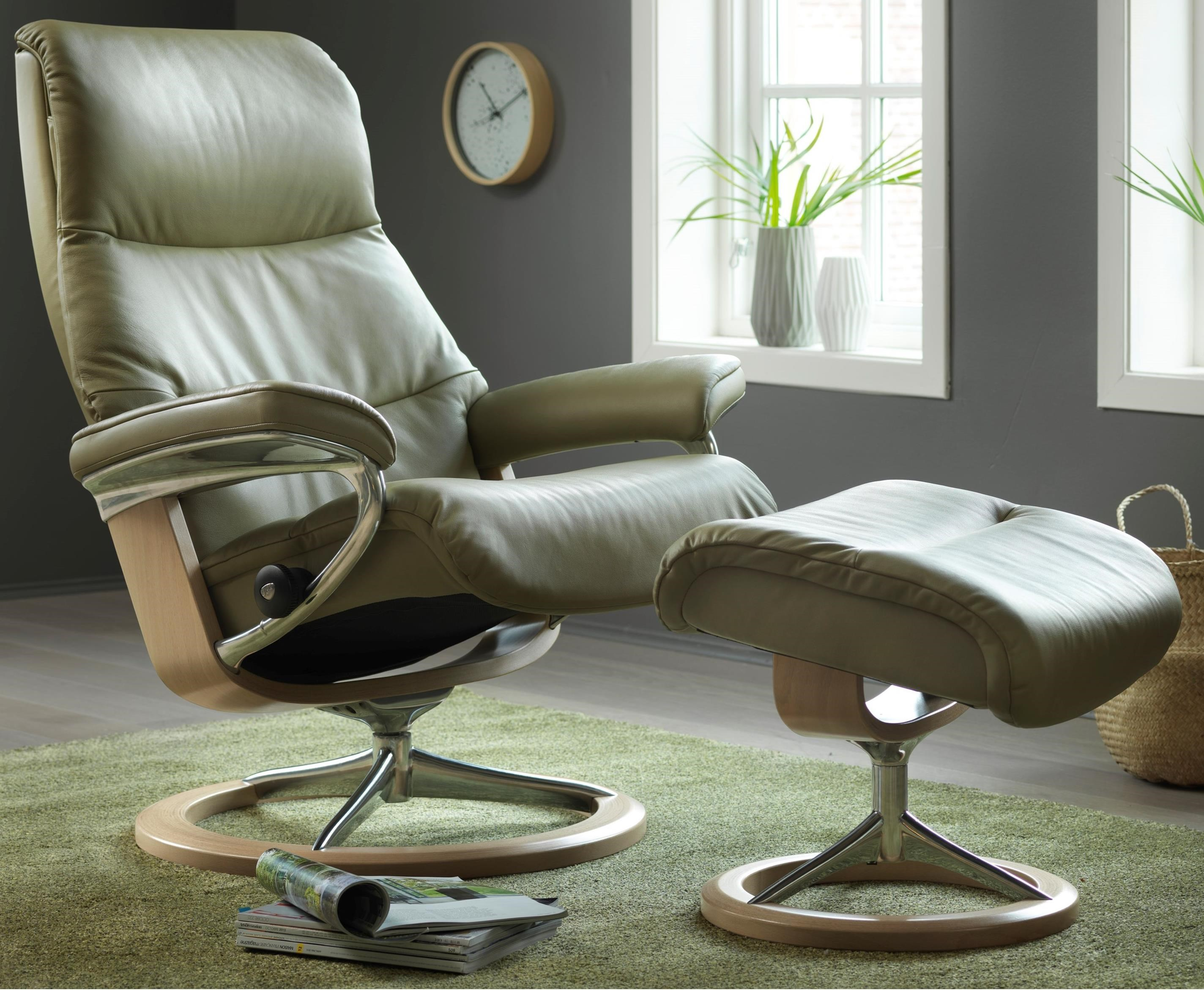 View Small Chair & Ottoman with Signature Base by Stressless at Bennett's Furniture and Mattresses