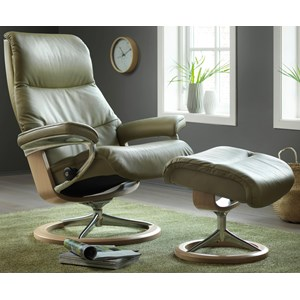 Large Reclining Chair & Ottoman with Signature Base
