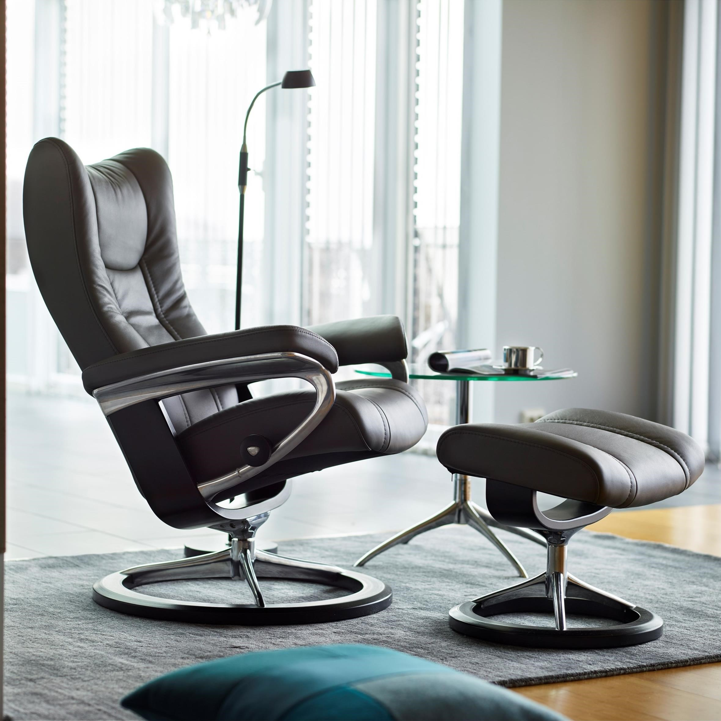 Wing Medium Chair & Ottoman with Signature Base by Stressless at Bennett's Furniture and Mattresses
