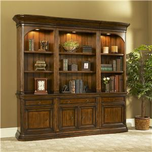 Traditional Combination Bookcase with Left & Right Curved Bookcase Piers & Adjustable Shelves
