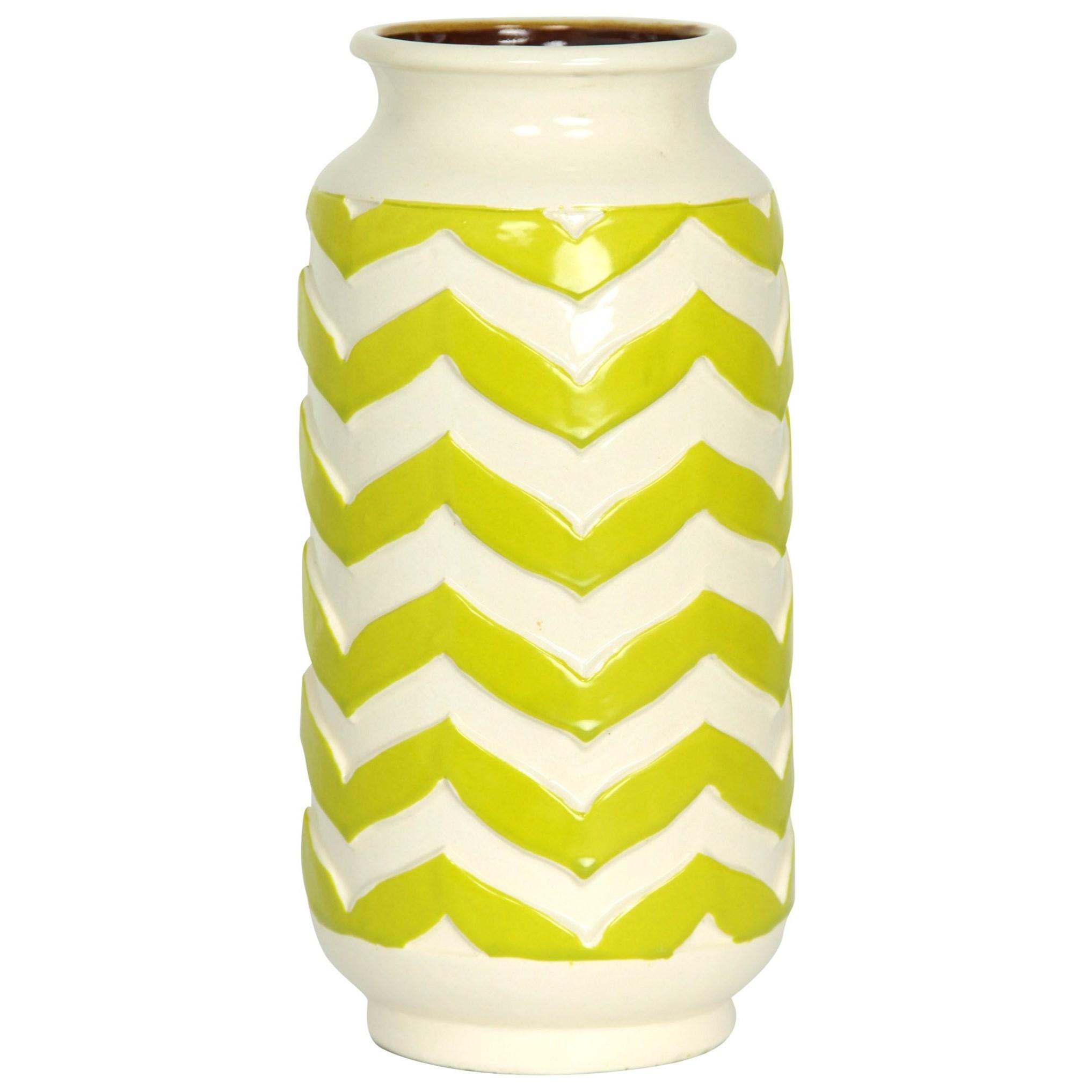 Accessories Chevron Striped Ceramic Vase by StyleCraft at Alison Craig Home Furnishings