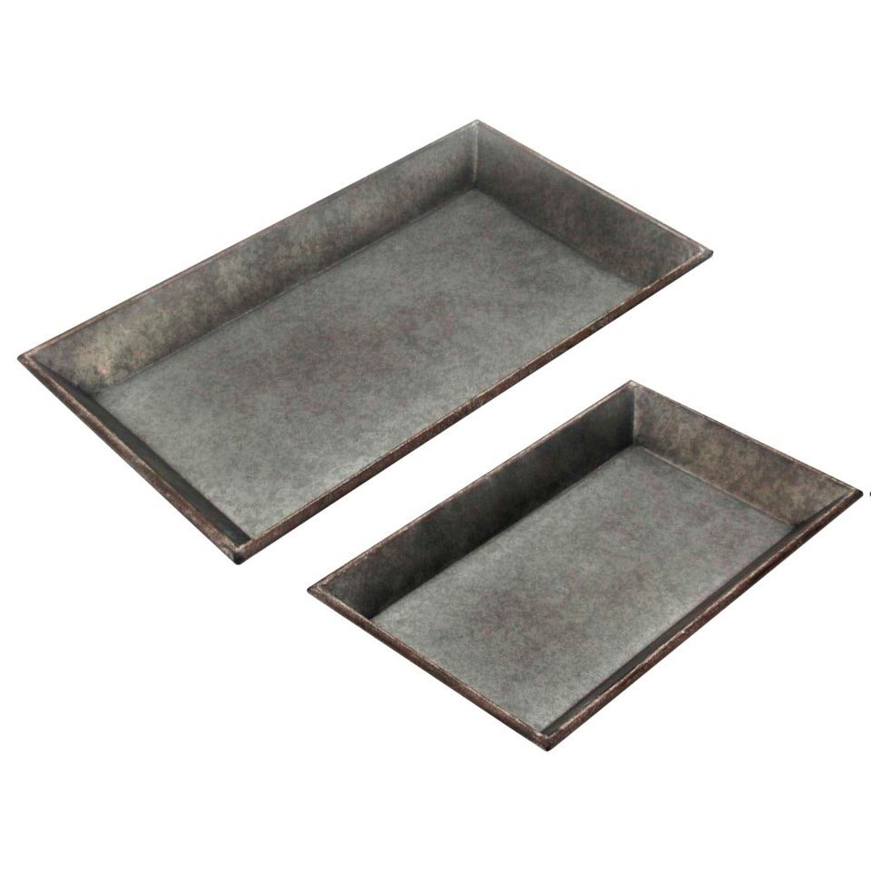 Accessories Set of 2 Metal Trays by StyleCraft at Alison Craig Home Furnishings