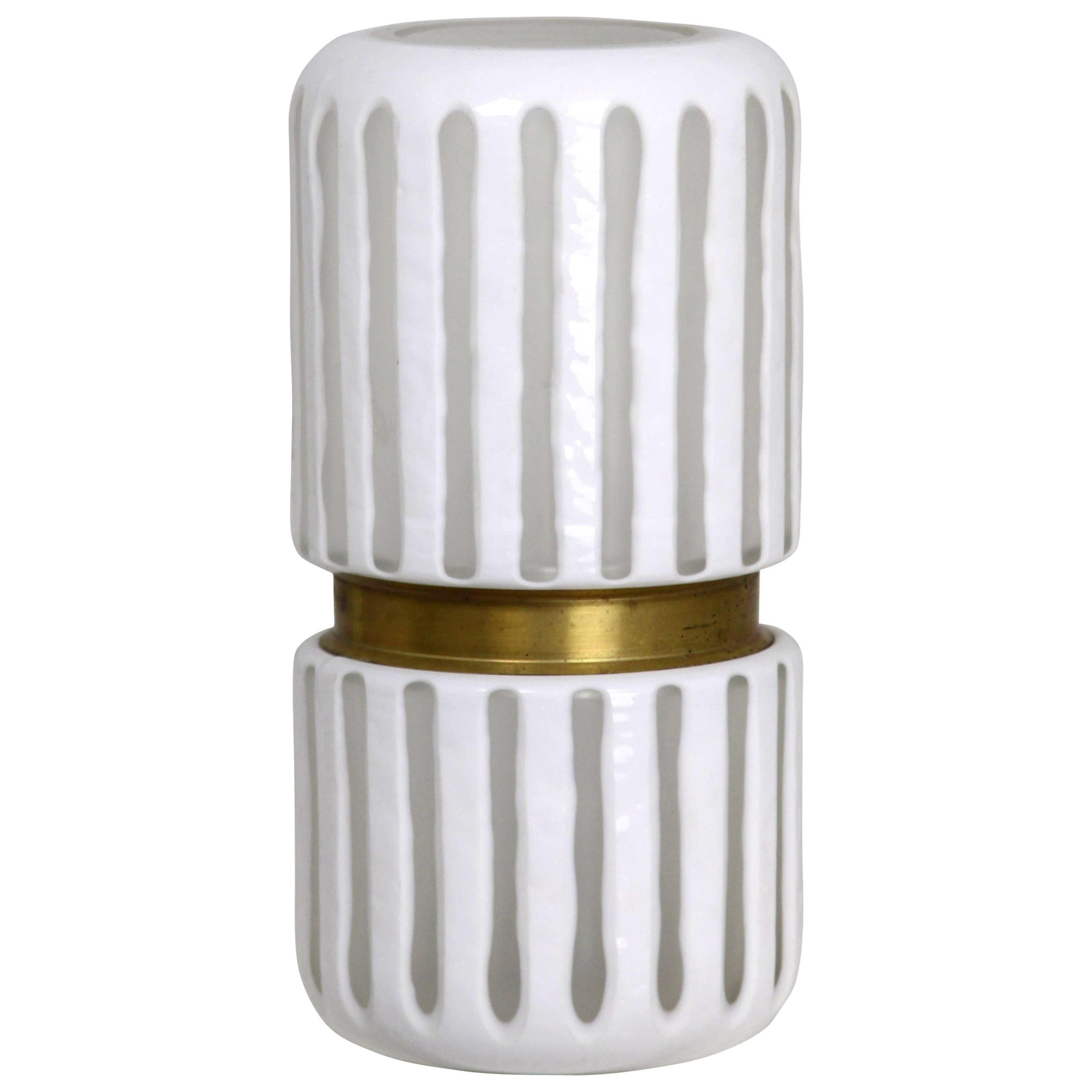 Accessories White Glass Vase by StyleCraft at Alison Craig Home Furnishings