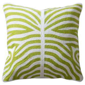 Green and White Accent Pillow