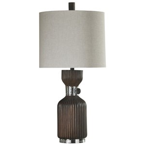 Walnut and Chrome Table Lamp with Base Rotary Switch