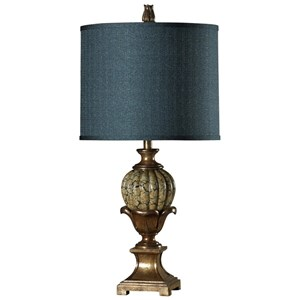 Glass Table Lamp with Silk Blend Shade