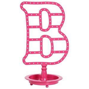 "Pink ""B"" Metal Table Top Jewelry Holder"
