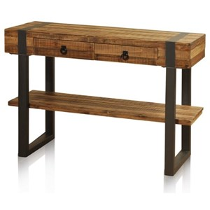 Console Table with 1 Shelf, 2 Drawers , and Forged Metal Legs