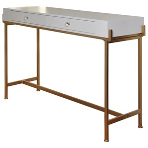 Console Table with 2 Drawers and an Antique Gold Metal Base