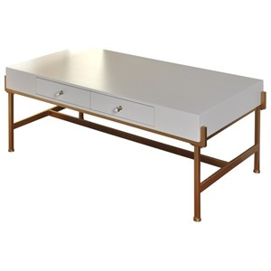 Coffee Table with 2 Drawers and an Antique Gold Metal Base