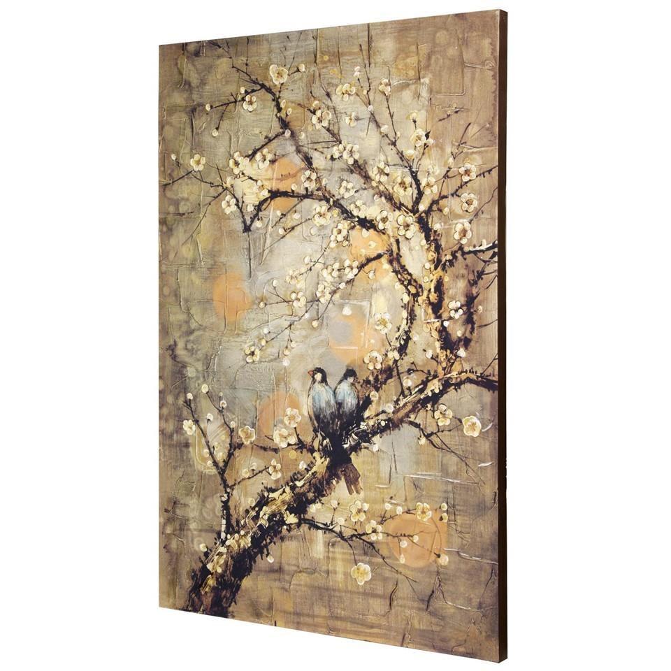 Lovebirds in Blossoms Artwork