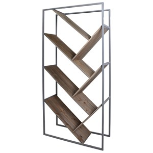 Industrial Gray Bryan Keith Bookcase with Intersecting Shelves