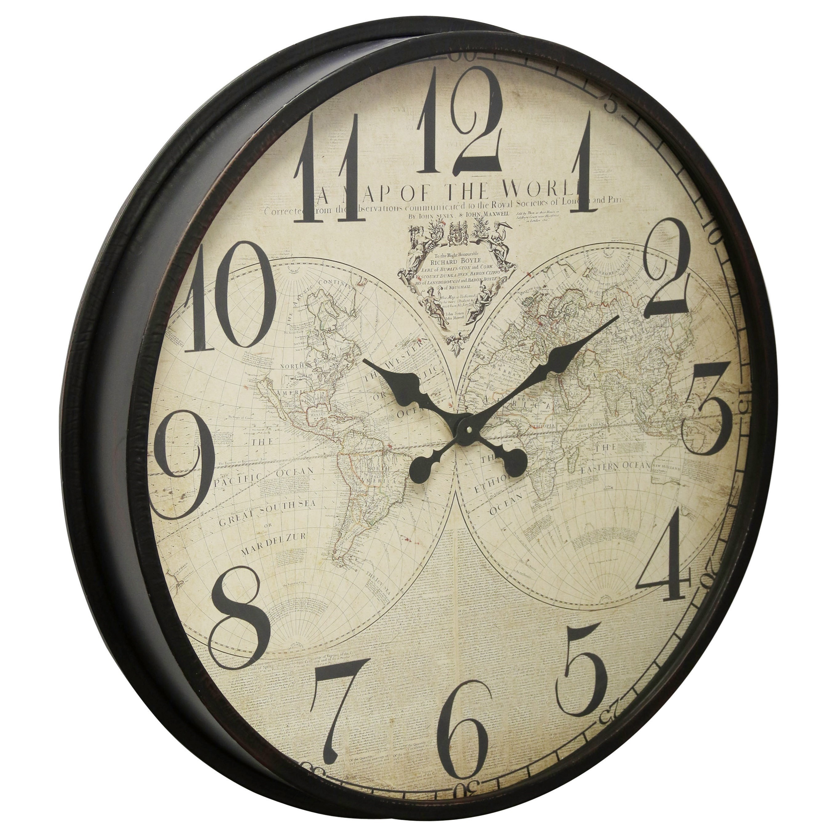 Clocks Black Wall Clock With Map Face by StyleCraft at Wilcox Furniture