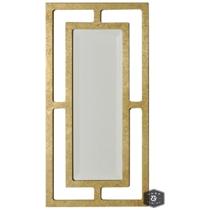 Double-Framed Beveled Mirror with Gold Finish