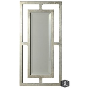 Double-Framed Beveled Mirror with Silver Finish