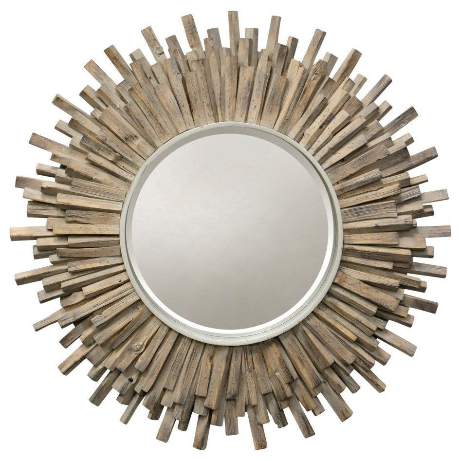 Mirrors Washed Wood Starburst Mirror by StyleCraft at Alison Craig Home Furnishings