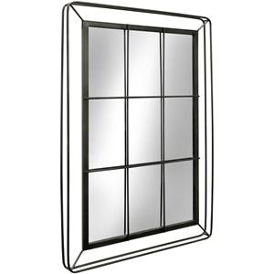 Metal Window Pane Mirror