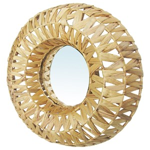 Woven Framed Circle Mirror
