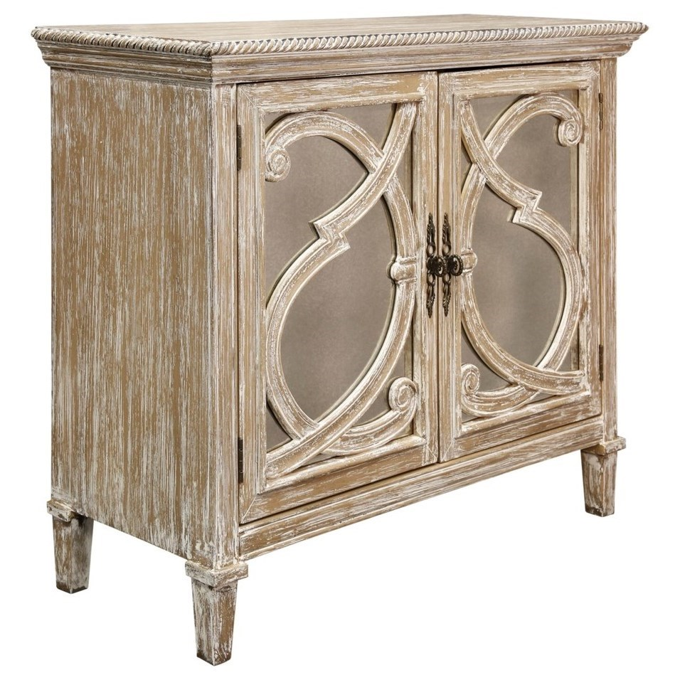 Occasional Cabinets Nappa 2 Door Antique Mirrored Cabinet by StyleCraft at Alison Craig Home Furnishings