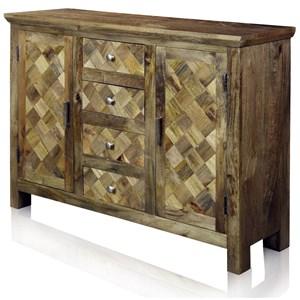 Solid Wood 2 Door 4 Drawer Sideboard