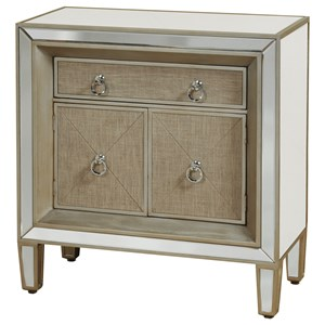 Mirrored Night Stand with Linen Front