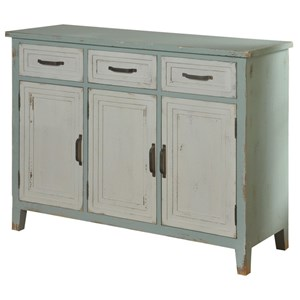 Mint 3 Drawer 3 Door Credenza with White Accents
