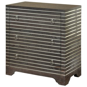 Contemporary 3 Drawer Chest with Mirror Inlay