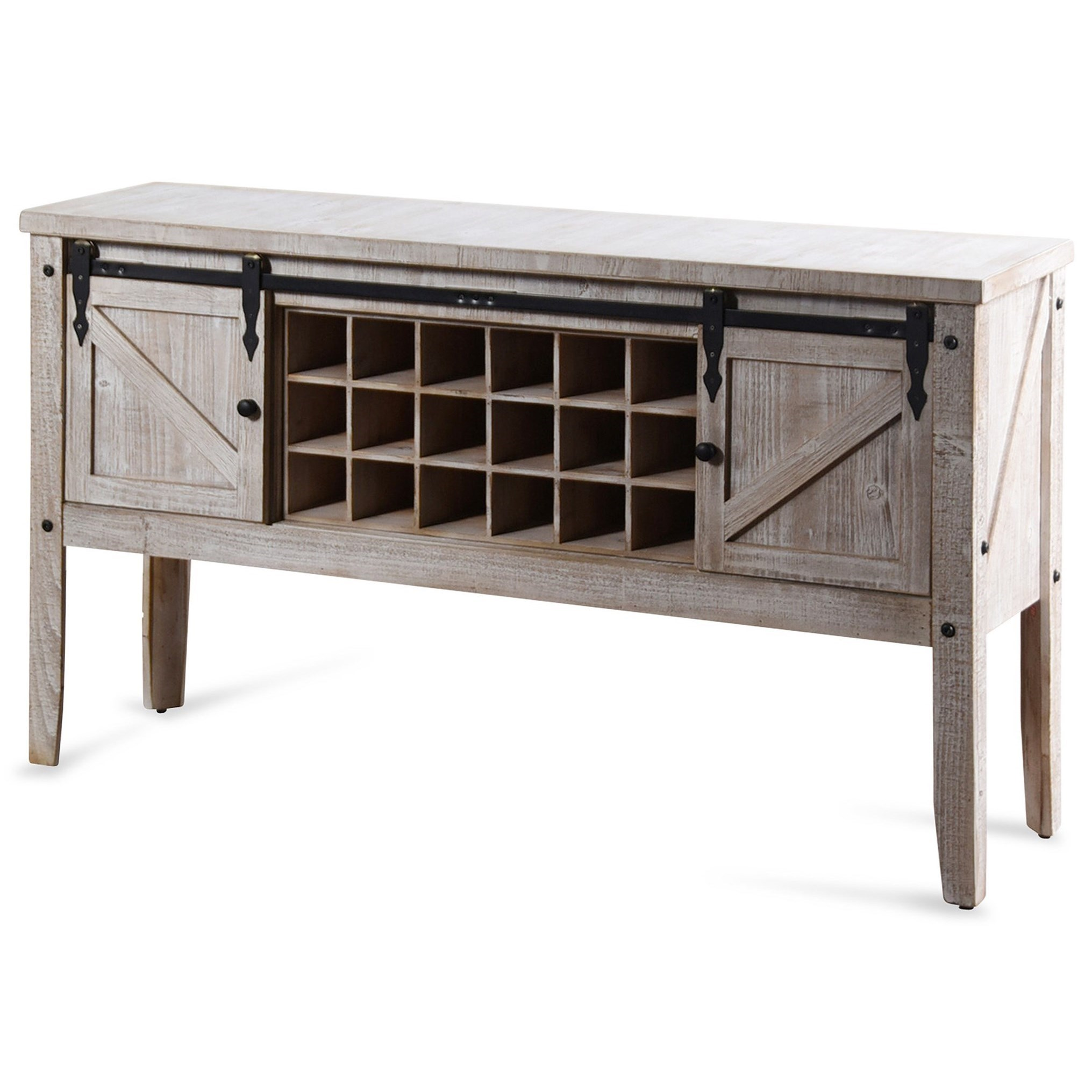 Occasional Cabinets White Farmhouse Wine Storage Console by StyleCraft at Alison Craig Home Furnishings