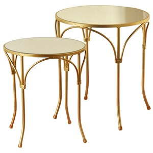 Set of 2 End Tables with Mirror and Gold-Painted Metal Frame